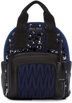 Miu Miu Blue Nylon Matelassé Backpack