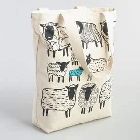 World Market Large Black Sheep Canvas Tote Bag