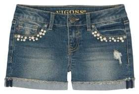 Vigoss Girl's Embellished Cuffed Denim Shorts