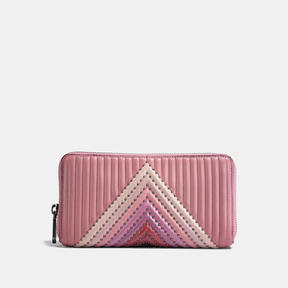 COACH Coach Accordion Zip Wallet With Colorblock Quilting And Rivets - BLACK COPPER/DUSTY ROSE MULTI - STYLE