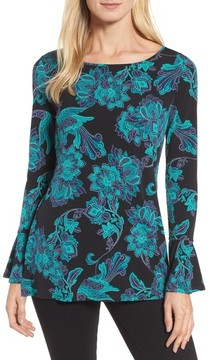 Chaus Women's Floral Trumpet Sleeve Top