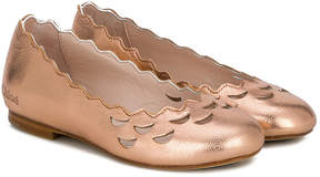Chloé Kids scalloped slip-on ballerinas