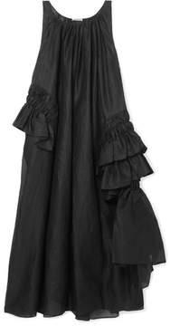 Jil Sander Oversized Ruffled Cotton-poplin Maxi Dress - Black
