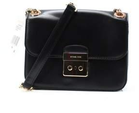 Michael Kors Black Leather Sloan Editor Chain Shoulder Bag Purse - BLACKS - STYLE