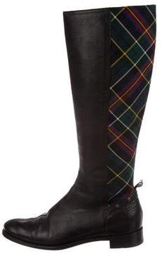 Burberry Check Leather Boots