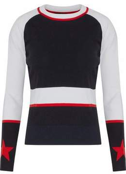 Belstaff Ribbed-Paneled Color-Block Intarsia-Knit Top
