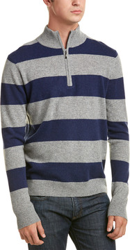 Qi Cashmere Rugby Stripe 1/4-Zip Pullover