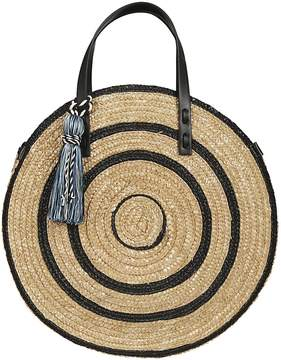 Rebecca Minkoff Straw Circle Tote Bag - BLACK MULTI - STYLE
