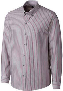 Cutter & Buck Gray & Red Stripe Long-Sleeve Button-Up - Men