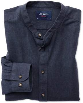 Charles Tyrwhitt Classic Fit Collarless Navy Blue Cotton Casual Shirt Single Cuff Size Large