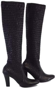 Bottega Veneta Black Leather Intrecciato Tall Boots