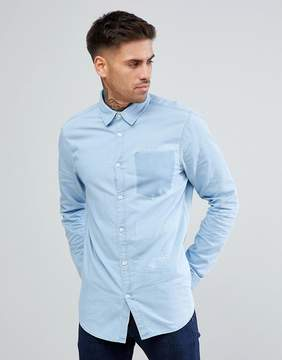 New Look Denim Shirt With Pocket Detail In Mid Wash