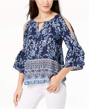 BCX Juniors' Printed Ruffle-Sleeved Cold-Shoulder Blouse