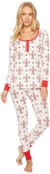 BedHead Long Sleeve Stretch Knit Henley Pajama Set Women's Pajama Sets