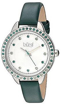 Burgi White Dial Ladies Green Leather Watch