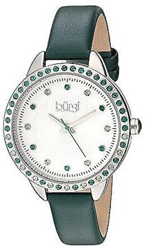 Burgi White Dial Ladies Green Leather Watch