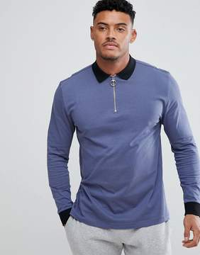 Asos DESIGN long sleeve relaxed fit polo with contrast collar and zip