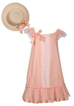 Iris & Ivy Little Girl's Two-Piece Clip Dot Lace-Trimmed Dress and Hat Set