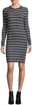 ATM Anthony Thomas Melillo Long-Sleeve Engineered Striped Ribbed Dress, Black/White