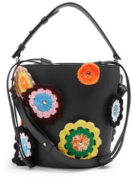 J.W.Anderson Bucket Crochet Appliqué Leather And Canvas Tote - Womens - Black Multi