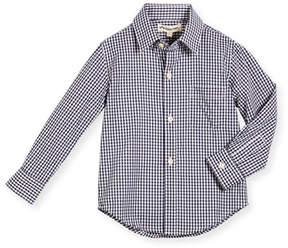 Appaman Long-Sleeve Cotton Gingham Shirt, Blue, Size 2-14
