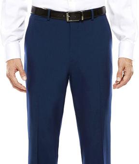 Jf J.Ferrar Men's JF Blue Stretch Flat-Front Classic Fit Suit Pants