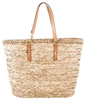 Rebecca Minkoff Leather-Trimmed Straw Tote - NEUTRALS - STYLE