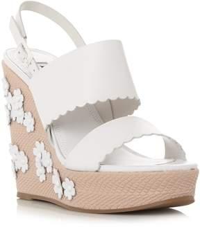 Dune London KENSINGTON - WHITE Applique Flower Wedge Sandal