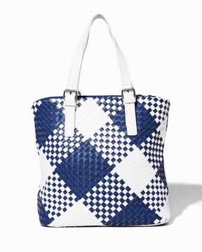 Color Block Basket Weave Tote
