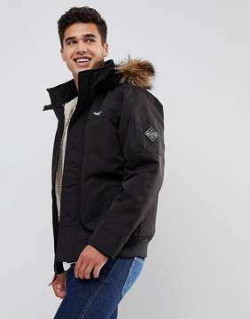 Hollister All Weather Bomber Faux Fur Hood in Black