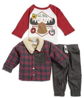 Nannette Baby Boy's Three-Piece Plaid Jacket, Moose Graphic Tee, and Pants Set