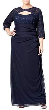 Betsy & Adam Sequined Lace Cutout Gown.