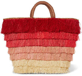 Kayu - Pinata Fringed Straw Tote - Red