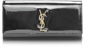 Saint Laurent Cassandra Black Patent Leather Clutch - BEIGE - STYLE