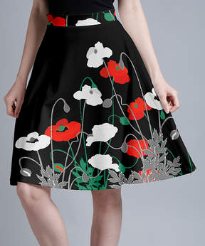 Lily Black & Red Poppies A-Line Skirt - Women & Plus