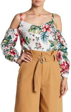 Lush Cold Shoulder Puff Sleeve Tropical Print Blouse
