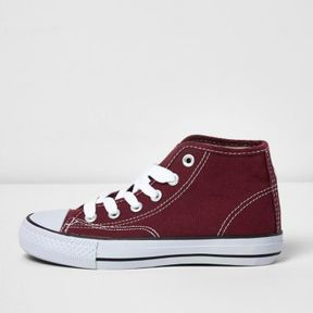 River Island Boys red hi top lace-up plimsolls
