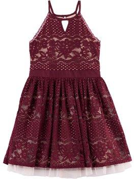 My Michelle Girls 7-16 Lace Halter Dress