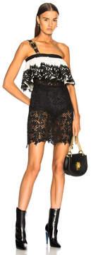 Fausto Puglisi Lace Ruffle Dress with Belt Strap