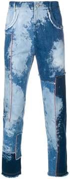 Damir Doma denim patchwork raw edge jeans