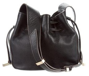 Halston Grained Leather Small Bucket Bag