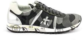 Premiata Lucy Sneaker In Black Camouflage Nylon With Metallic Leather Details