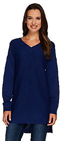 Denim & Co. V-neck Drop Shoulder Long Sleeve Sweater