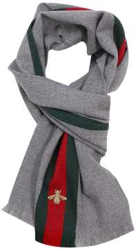 Gucci Scarf Scarf 37 X 180 Cm In Cashmere Wool With Web And Bee Pattern