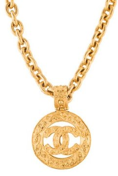 Chanel Textured CC Pendant Necklace