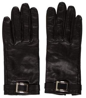 Hermes Buckle-Accented Leather Gloves