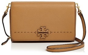 Tory Burch McGraw Flat Leather Wallet Crossbody - BAGUETTE/GOLD - STYLE