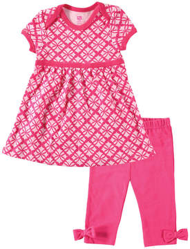 Hudson Baby Pink Arabesque Dress & Leggings - Infant