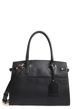 Sole Society Ladylike Faux Leather Satchel - Black