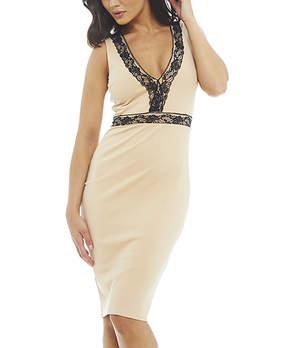 AX Paris Ivory & Black Lace-Accent V-Neck Dress - Women